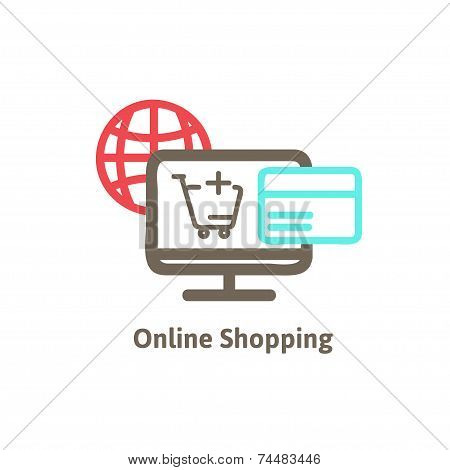 shopping online with icon vector