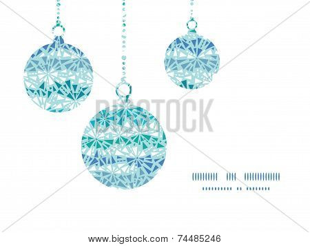 Vector abstract ice chrystals texture Christmas ornaments silhouettes pattern frame card template
