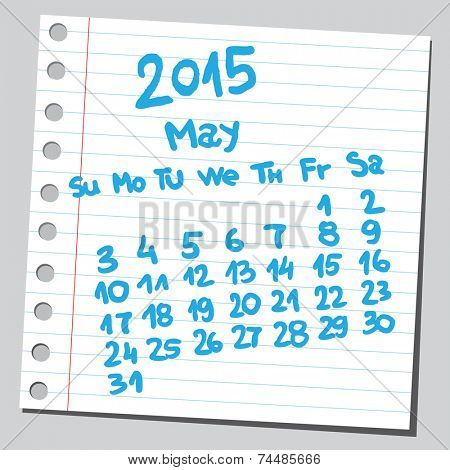 Calendar 2015 may (sketch style)