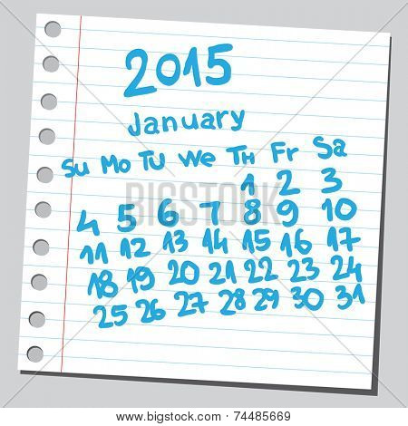 Calendar 2015 january (sketch style)
