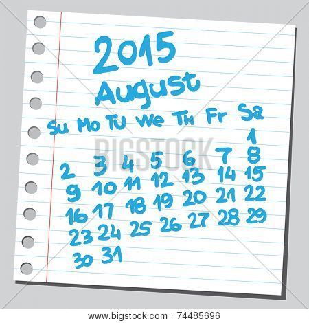 Calendar 2015 august (sketch style)