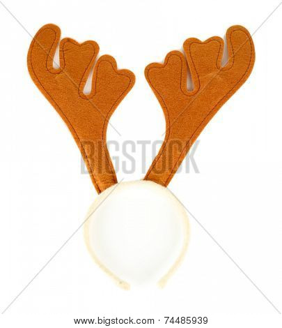 Pair of toy reindeer horns isolated on white