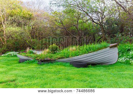 Overgrown Rowboat In A Garden