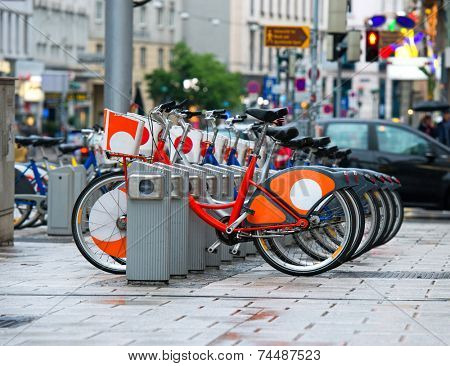 City bicycle rental station in Vienna