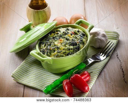 vegetarian pie with spinach and turnip top