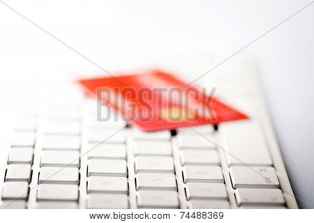 Credit Card On A Computer Keyboard