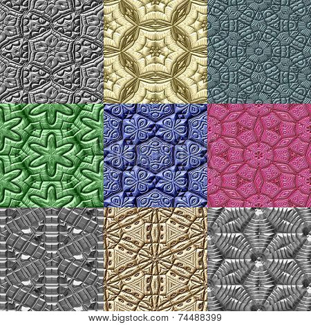 Set Of Mayan Ornaments Seamless Generated Textures