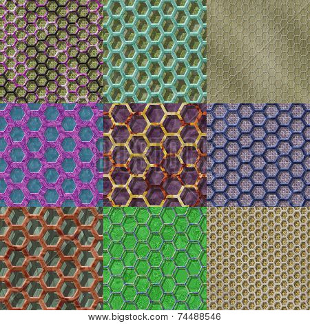 Set Of Wire Mesh Seamless Generated Textures