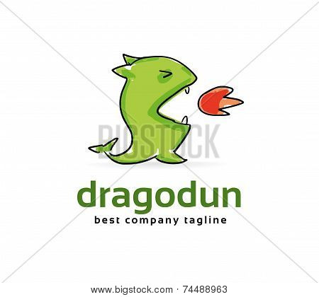 Abstract vector dragon monster logo icon concept. Logotype template for branding and corporate desig