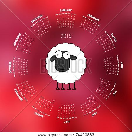 Round Calendar 2015 With Sheep On Red Background