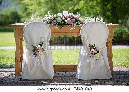 Wedding Chair Covers With Fresh Roses