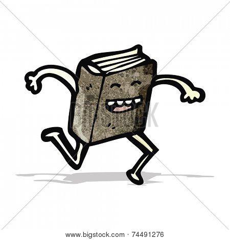 cartoon book running