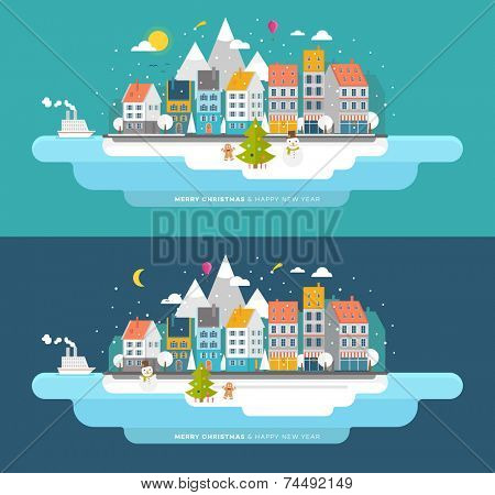Flat Style Snowing Town Vector. Set for Winter and Xmas Holidays Design. Christmas Tree and Snowman. Winter Icons.