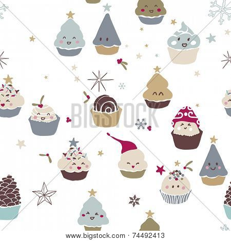 cute winter cupcake seamless pattern