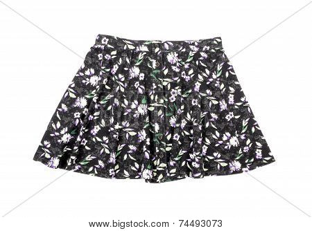 Floral Mini Skirt Isolated on White