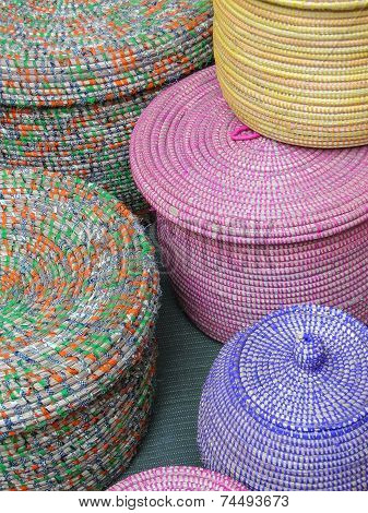 Pastel Colored Hand Woven Baskets