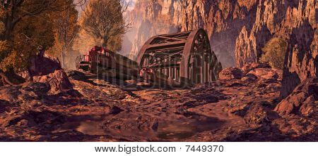 Diesel Locomotive In A Southwest Canyon