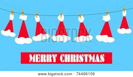Santa claus hats on a clothesline with a yellow bird and merry christmas message.  EPS vector format.