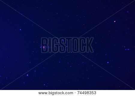 Orion stars in the night sky