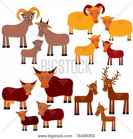 Set Of Funny Animals With Cubs. Goats, Sheep, Cows, Deer On A White Background. Vector