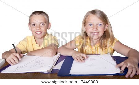 Children learning and studying