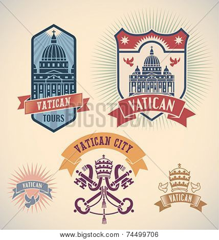 Set of retro-styled Vatican city tour labels. Editable vector illustration.