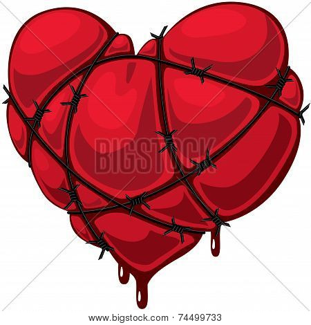 Heart with barbed wire