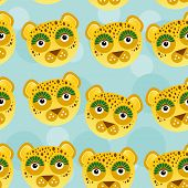 image of cute animal face  - Leopard Seamless pattern with funny cute animal face on a blue background - JPG