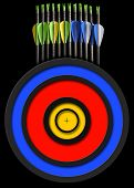 stock photo of fletching  - Black background with a set of arrows and target for archery - JPG