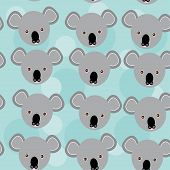 foto of cute animal face  - koala Seamless pattern with funny cute animal face on a blue background - JPG