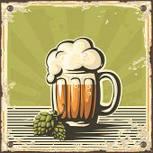 stock photo of beer mug  - Retro illustration of beer free label beer poster vector illustration on green background - JPG