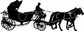 picture of carriage horse  - carriage with the team of horses and coachman - JPG