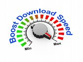 pic of maxim  - 3d illustration of knob set at maximum for boost download speed - JPG