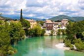 pic of yugoslavia  - Emerald river with medieval European town - JPG