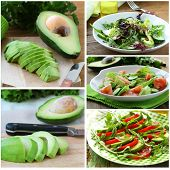 foto of rocket salad  - Set salads with fresh avocado and fruit sliced on the board - JPG