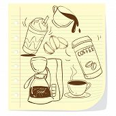 stock photo of whip-hand  - Vector illustration of coffee cups in doodle style - JPG