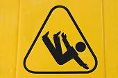 picture of slip hazard  - Sign warning of slippery floor - JPG