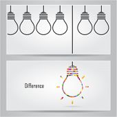 foto of differences  - Creative light bulb Idea concept banner background - JPG