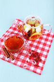 image of chinese checkers  - Goji berries drink in glass cup and cinnamon - JPG