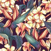 stock photo of jungle flowers  - Tropical seamless pattern with exotic flowers - JPG