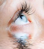 foto of drinking water  - female eye with long eyelashes reflected by water - JPG