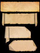 stock photo of scroll design  - Medieval parchment scroll and old paper texture set - JPG