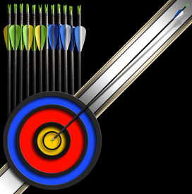 stock photo of fletching  - Black background with a set of arrows and target for archery archery background - JPG