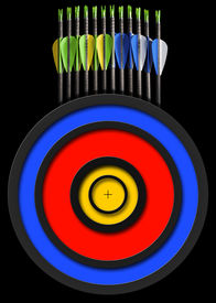 picture of fletching  - Black background with a set of arrows and target for archery - JPG