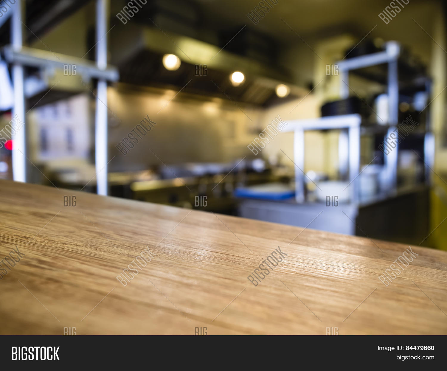 Top of Wooden Table Counter with Blurred Kitchen Restaurant Background ...