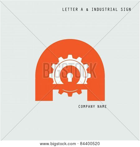 Creative Letter A Icon Abstract Logo Design Vector Template With Industry And Gear Symbol. Corporate