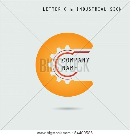 Creative Letter C Icon Abstract Logo Design Vector Template With Industry And Gear Symbol. Corporate