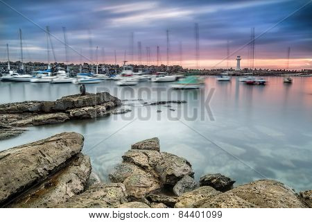 Wollongong harbour in New South Wales at sun rise