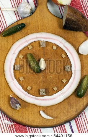 Clock Made Of Food