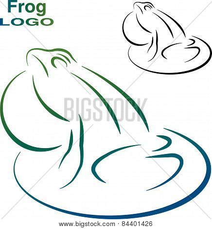 Logo of the frog. Color and Black and white version.